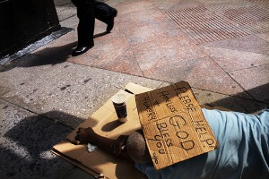 Americans divided on banning panhandling