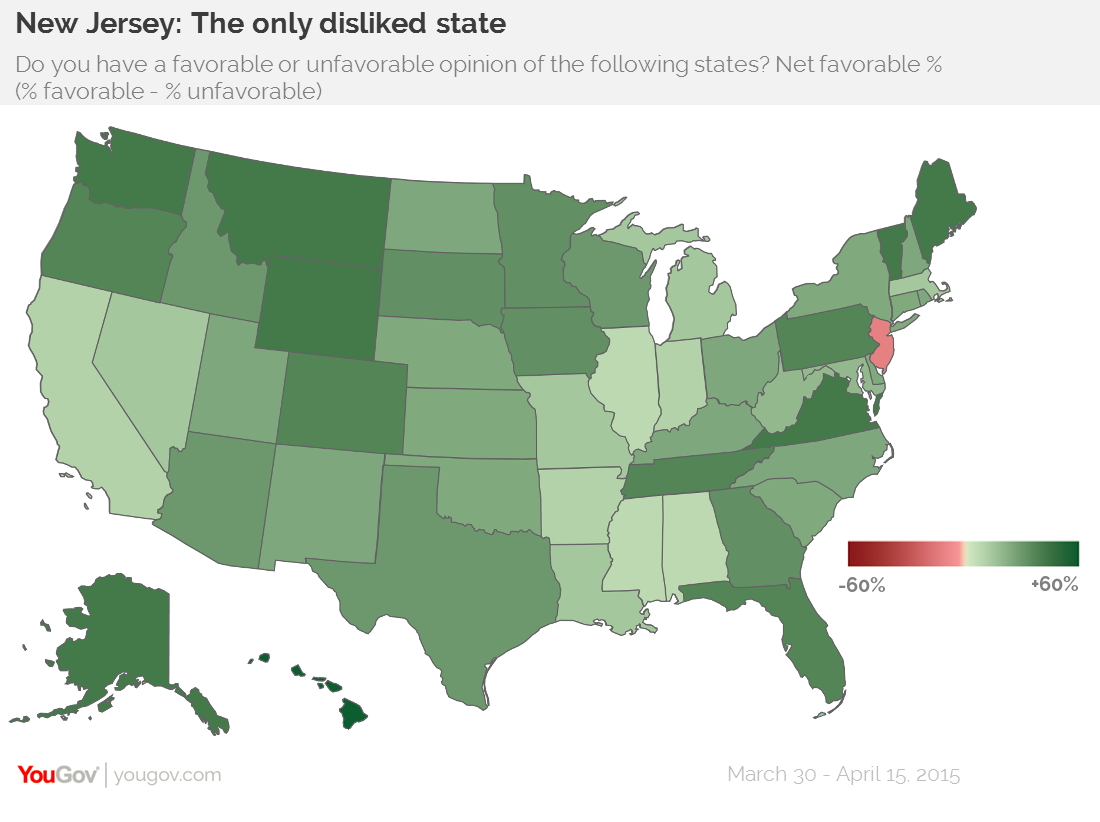 YouGov New Jersey The Least Liked State In America - Us states map polls