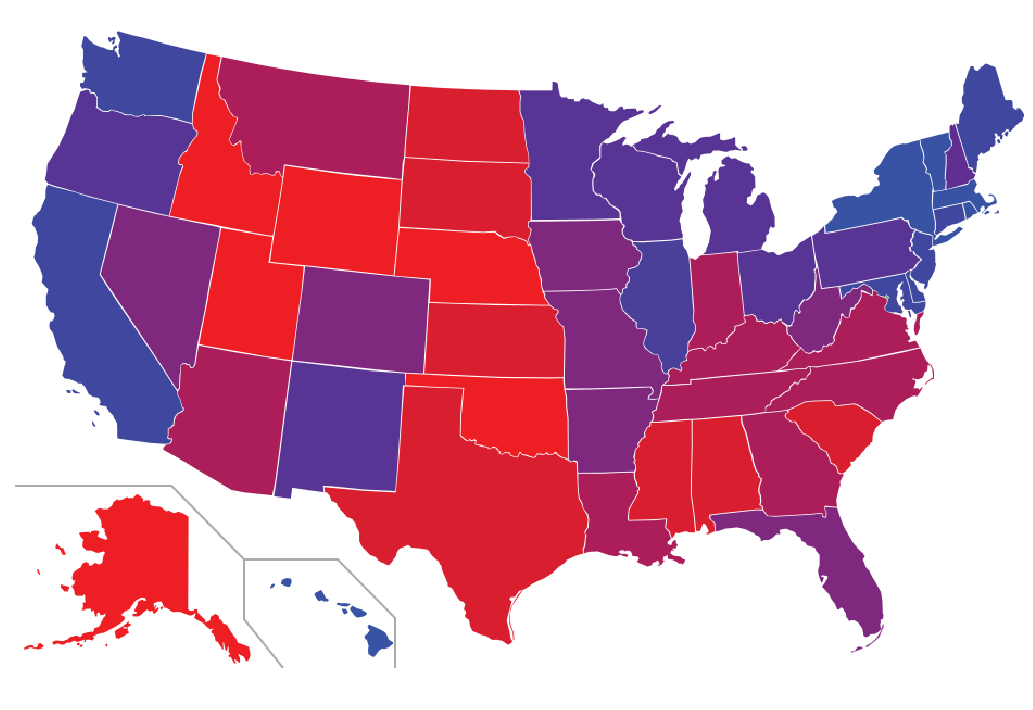 Not all states are red or blue: in search of the purple states