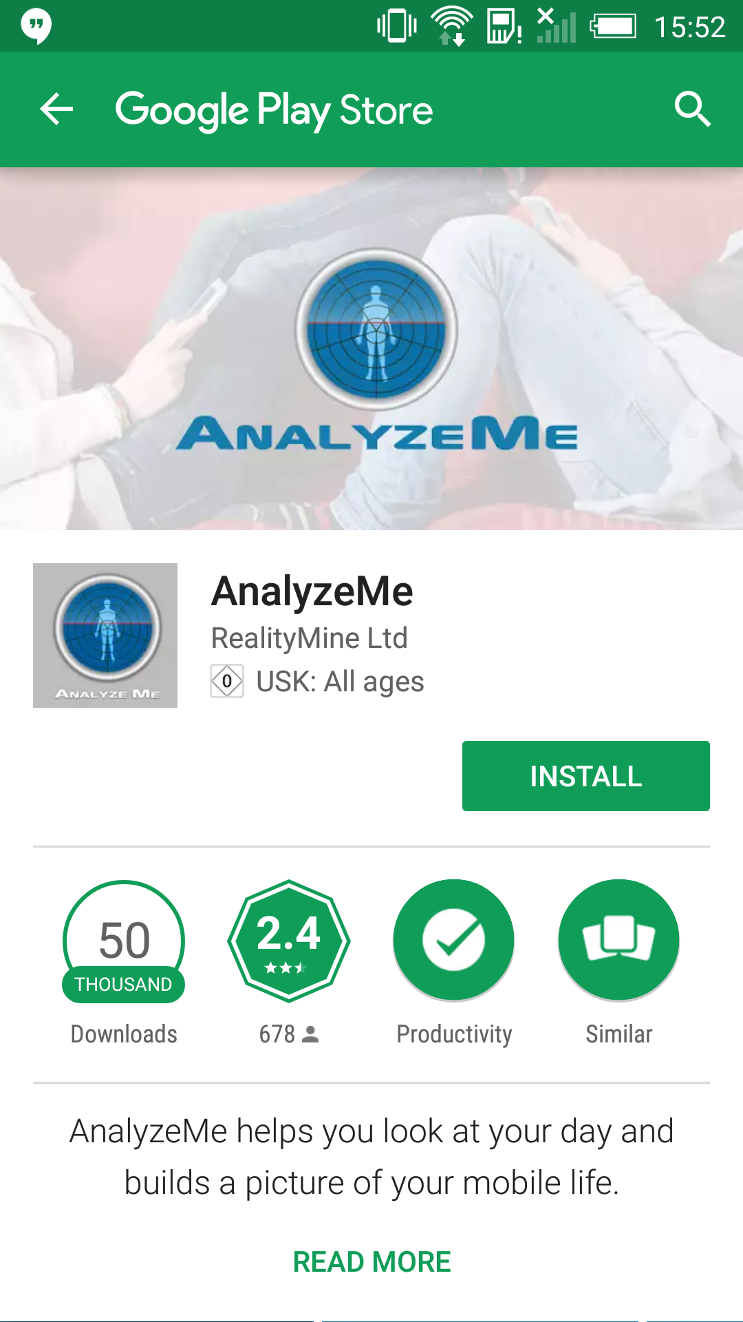 1. Click the link you were provided by email that will take you to the Google  Play Store page for the Analyze Me App. Click 'Install' to get started.