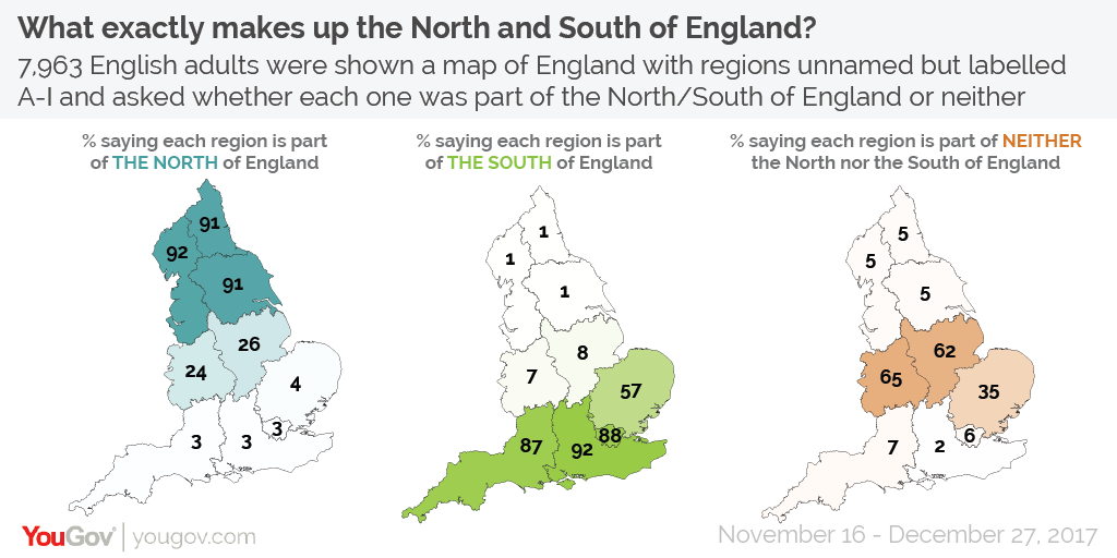 Map Of England Midlands.What Regions Make Up The North And South Of England Yougov