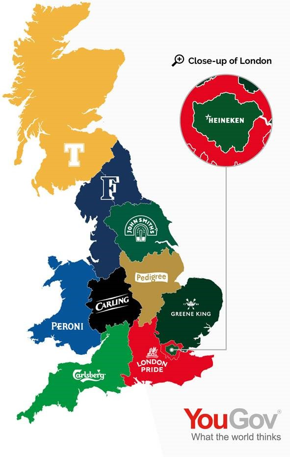 Map Of England Showing Yorkshire.Yougov S Beer Map Of Britain Yougov