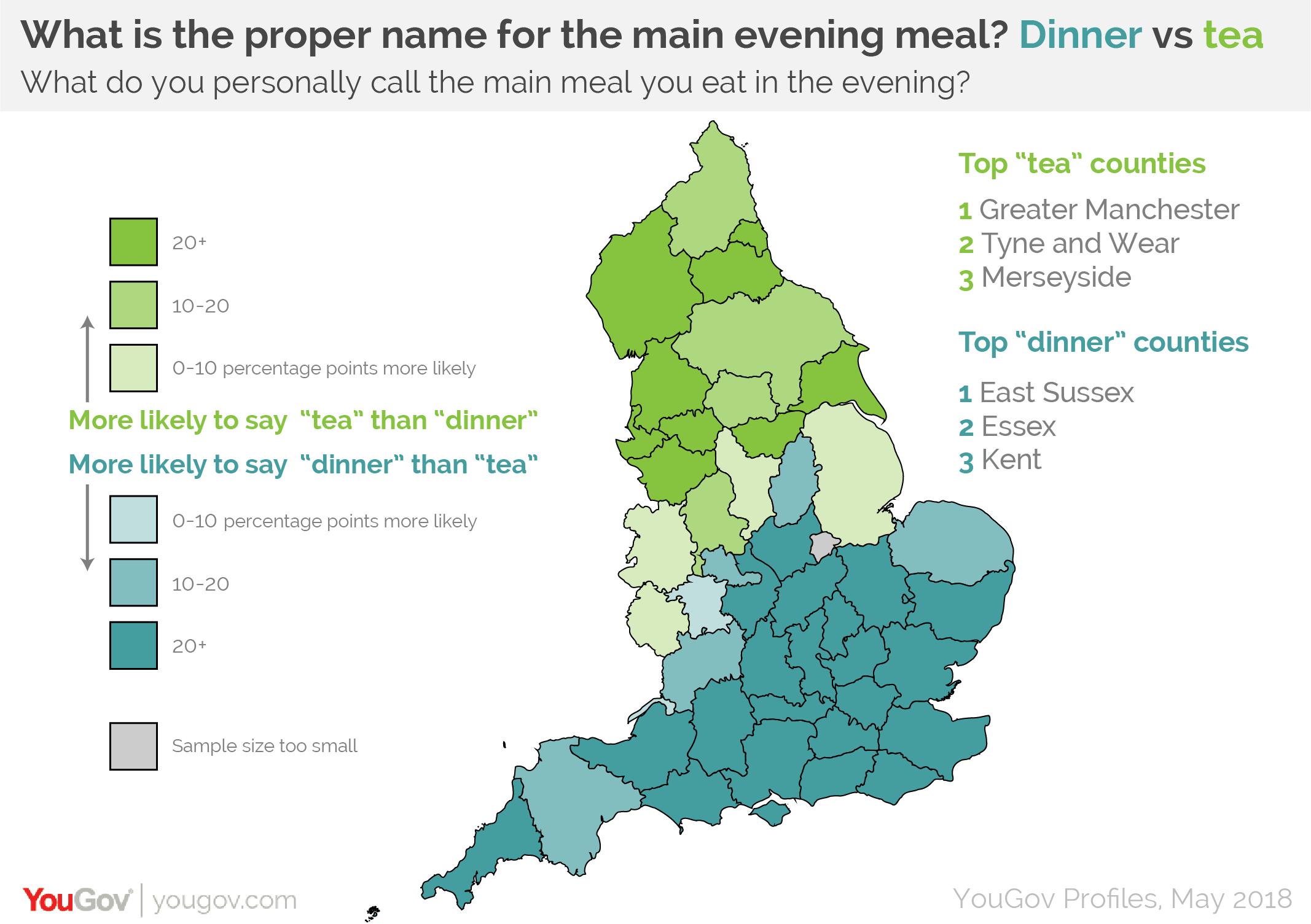 Map Of South East England Counties.Dinner Time Or Tea Time It Depends On Where You Live Yougov
