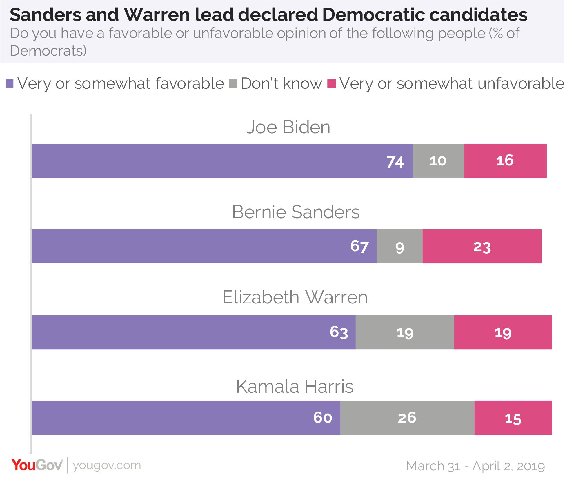 Bernie Sanders and Elizabeth Warren lead declared Democratic candidates