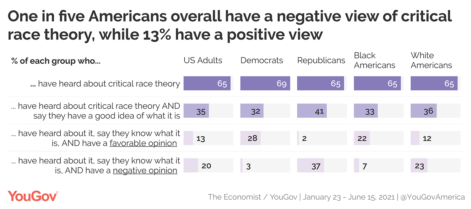 One in five Americans overall have a negative view of critical race theory, while 13% have a positive view