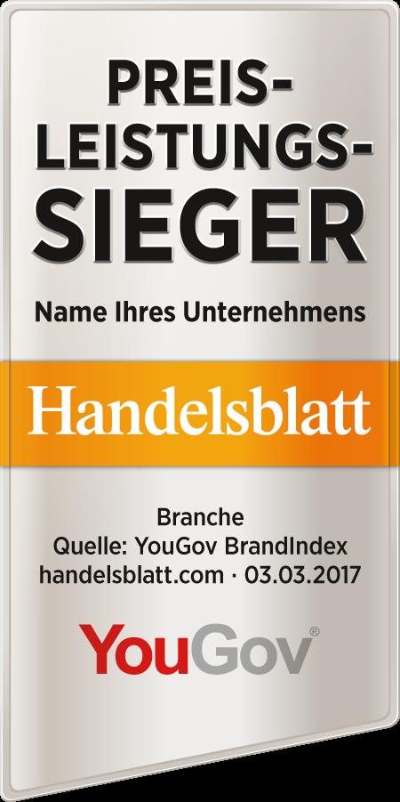 Muster für das Preis-Leistungs-Sieger-Siegel 2017